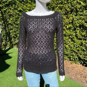 SUSSAN Black Boatneck Open Knit Sweater